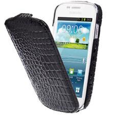Vertikal Flip Case Tasche Croco Style schwarz für Samsung i8190 Galaxy S3 Mini