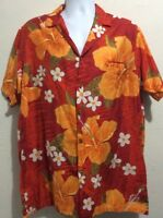 Vintage BAREFOOT IN PARADISE Hawaiian Shirt Orange Hibiscus Mens Sz XL TALL