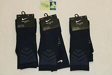 New Set of 3 Nike Dri-Fit Football Navy Blue 1X Size 12-15 Socks Nike Vapor Crew