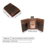 Handcrafted Brown Tri-fold wallet for Men's Hunter Crazy Horse Leather Thump ID