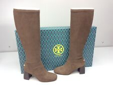 Tory Burch Sidney 70mm Boots Brown Stretch Suede Tall Block Heel Size 9 riding