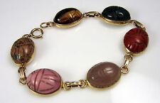 Vintage 14k Yellow Gold Carved Chalcedony Carnelian Tiger Eye Scarab Bracelet