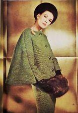 VINTAGE 60'S VOGUE Couturier 1255 NINA RICCI * CAPE * * Giacca Tuta modello Per Cucito