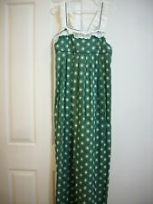 JUICY COUTURE DRESS MAXI COTTON 10 SLEEVELESS LINED LONG GREEN WHITE COLOR NEW