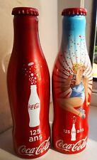 2 COCA COLA aluminium BOUTEILLE bottle 125 ans  pleines, neuves ,fermées !!!