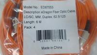 Pack of 2: 5m ST / ST MM Duplex 50/125 Fiber Optic Cable Orange
