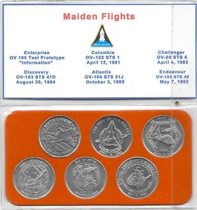 NASA Space Transportation System Maiden Flights 6 Minted Coin Collector Series