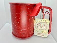 Christmas Red White Speckles Stainless Steel Flour Sifter Holiday Baking Snow