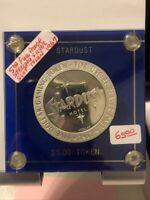 Stardust $5 Full Proof Silver Slot Token 1967 in plastic holder Las Vegas NV