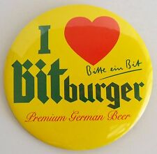 I heart Bitburger Beer German Pinback Pin Button 3 inch Brewery Promotion