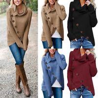 NEW Women's Long Sleeve Button Knit Loose Sweater Jumper Cardigan Outwear Tops