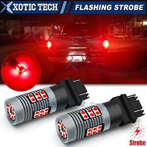 3157 LED Brake Light Bulbs Strobe Blinking Flashing to Solid Stop For GMC Chevy