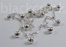925 Sterling Silver ~ 10.5 inch~ Charm~ Ankle~ Bracelet ~  12 Sphere Charms~