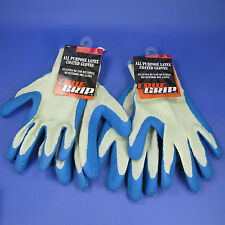 TRUE GRIP ALL PURPOSE LATEX COATED YARD WORK UTILITY GLOVES - 2 PAIRS SIZE LARGE