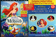 THE LITTLE MERMAID 2 disc w/Limited Ed MUSIC CD, LYRIC BOOK-Eng,French,Spanish
