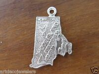 Vintage silver RHODE ISLAND STATE MAP PROVIDENCE w/ SAILBOAT charm FORT CO.