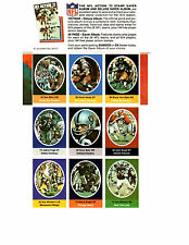 Joe Namath - 1972 NFL Action Stamp Sheet (Complete)- Sunoco/DX Pack
