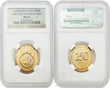Malaysia 1976 Employee Provident Fund 250 Ringgit Gold NGC MS62