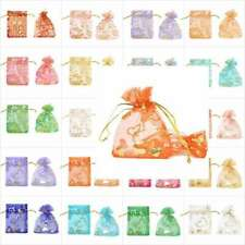 20-100pcs 7x9cm Organza Pouches Gift Jewelry Bags Heart Flowers Wholesale BW