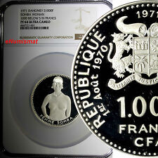 Dahomey Silver 1971 1000 Francs NGC PF64 PROOF ULTRA CAMEO Mintage-6,500 KM# 4.1