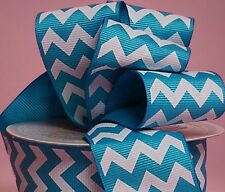 """1yd of Turquoise and White 1.5"""" Chevron Pattern Grosgrain Ribbon neatly wound"""