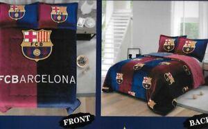 FC Barcelona 3 pcs Thick Reversible Blanket Set--King Size