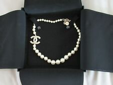 "NWT authentic CHANEL Anniversary Pearl & Crystal 17"" CHOKER Necklace 2017"