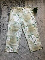 Tommy Bahama Womens 100% Silk Crop Pants  Floral Print Green Ivory S Wide Leg 6