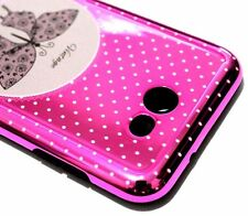 For Samsung Galaxy J7 2017 (J727) - Metallic Hot Pink Butterfly Dots Case Cover