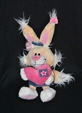 Peluche doudou lapin Mimihopps DIDDL DEPESCHE coeur robe jeans 24/38 cm TTBE