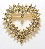 Brooch Pin - Heart - Love - Valentine - White Crystal Rhinestones - Gold Tone