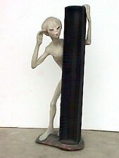 LIFE SIZE ALIEN ENCOUNTER WITH CD RACK SCI-FI OUTER SPACE CD STORAGE QUIRKY GIFT