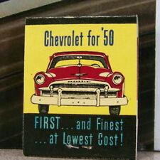 Vintage Matchbook M6 Washington Kirkland East Side Motor Chevrolet 1950 Car Firs