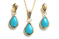 9ct Gold Turquoise Teardrop Pendant and Earring Set Made in UK Gift Boxed