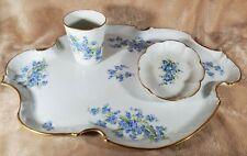 Limoges Blue Flower Dresser Set, Plate / Cup / Trinket Dish