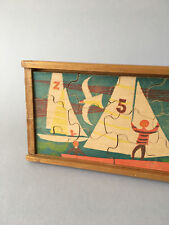 Antonio Vitali Jigsaw Puzzle wooden Toy - Sailing Theme - Vintage Swiss Design