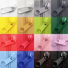 Continuous zipper zip nylon chain coil size various colors + sliders AYX