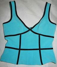 Cache Turquoise And Black Sexy Top, Size 6