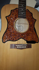 Leather pickguard Acoustic Guitar Custom Hand Tooled Leather Floral Riffs laced