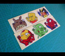 6 Pics iron-man x-man Squished Up Faces Funny Reflective window Decal Sticker