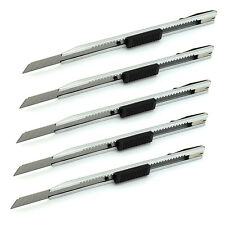 5pcs Silver Stainless Steel Utility knife 9mm Slim Snap-off Blade letter Cutter
