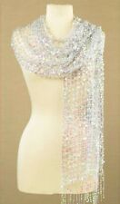 """WOMENS IRRIDESCENT SEQUIN SCARF/WRAP 22""""W X 64""""L. OVER 1000 SEWN SEQUINS. NIP"""