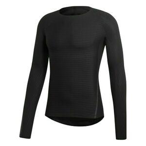 Adidas Alphaskin 360 Compression Tight Training Gym Black Blue LS Shirt CF7163