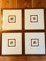 Vintage Framed Signed & Numbered African Animal Painting Set of 4, 12.5 x 13 ""