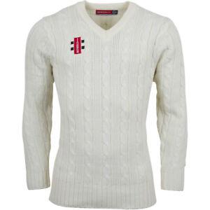Clearance Ex-Display Cricket Mens Acrylic Sweater Ivory Size Medium