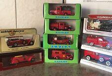 Collection of 9 Rare 1:43 Fire Vehicles, Solido, Eligor, Lledo, Matchbox & Rex