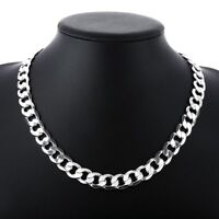 18K White Gold Plated Chain Men Necklace 16-30 inch Free Shipping