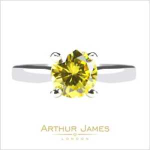 Four Prong Yellow Canary 2.10 Ct Round Cut Diamond Solitaire Women Wedding Ring