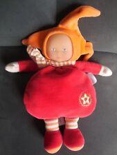 354/ doudou peluche poupée Babi Pouce rouge orange brodé étoile vert COROLLE