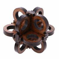 2X(Wooden Intelligence Toy Kong Ming Lock Glasses Lock Puzzle 3D Brain Teas D2P6